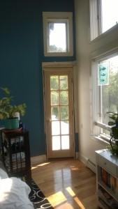 deck door installed in bedroom