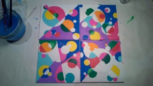 working on my set of 4 circle mosaic paintings
