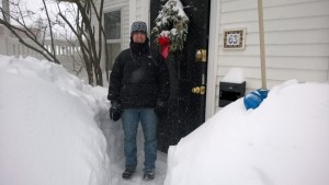 driveway snow cold house side door wreath me