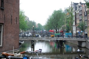 canal bridges and bicycles in amsterdam