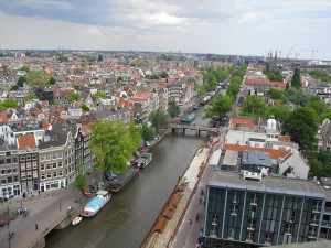view from the top of westerkerk tower in amsterdam