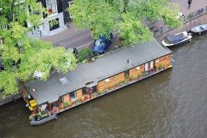 house boat in amsterdam from top of westerkerk tower