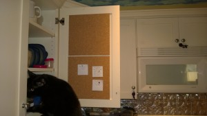 kitchen cabinet bulletin / cork board project