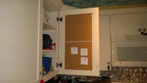 kitchen cabinet cork board