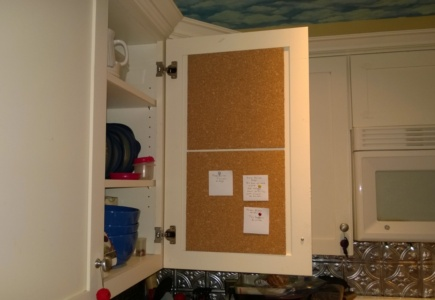 Kitchen Cabinet Bulletin Board