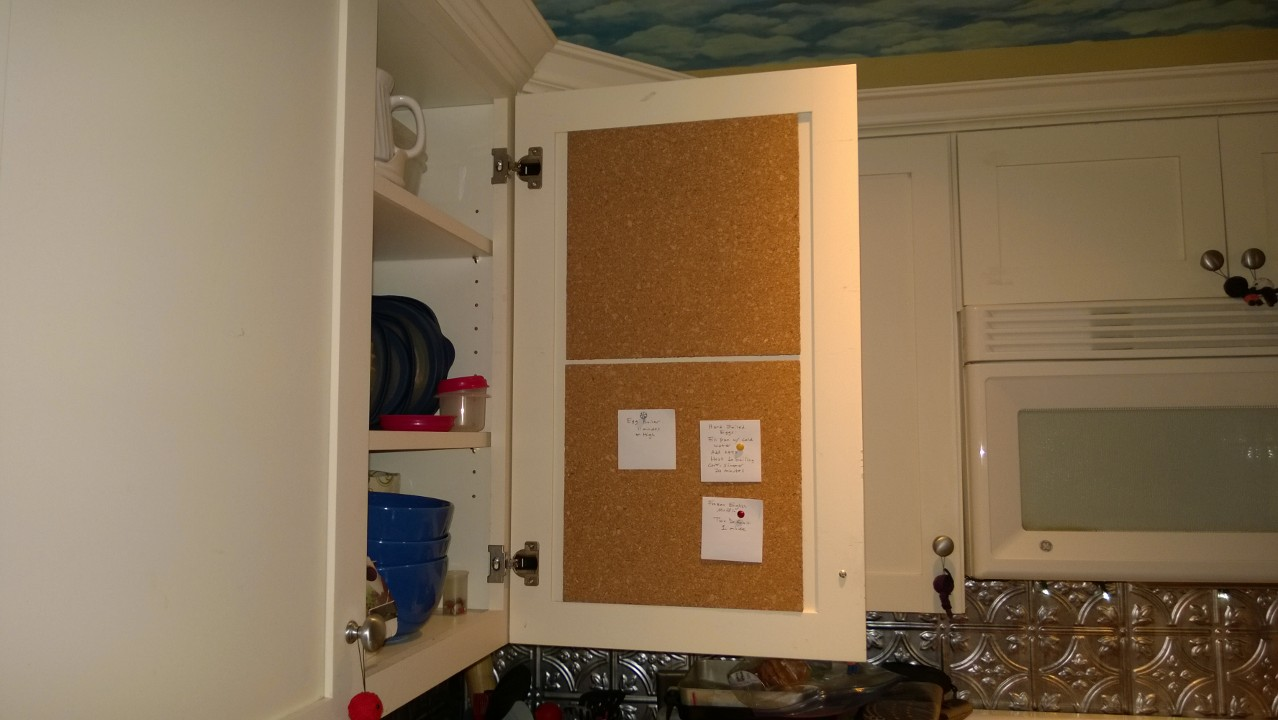 Kitchen Cabinet Bulletin Board
