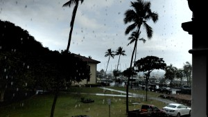 maui hawaii pioneer inn deck in rain