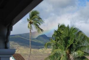 maui hawaii rainbow over mountains