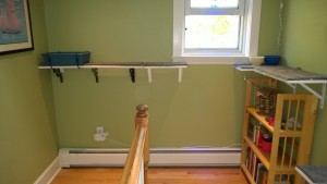 upstairs hall cat platforms with rug and litter box