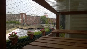 view of ipswich river, waterfall / dam, and riverwalk through the outdoor cat enclosure / catio