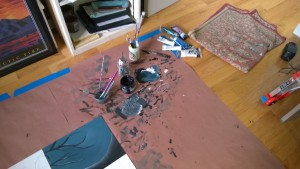 i am a very messy painter girl cave art paint mixing on knee