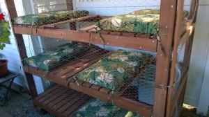 cushions in the outdoor cat enclosure / catio