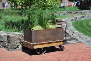 cool metal railroad luggage planter at ebsco