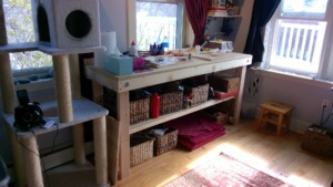 my new workbench in the girl cave