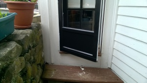 i painted the back door black on the outside and white on the inside