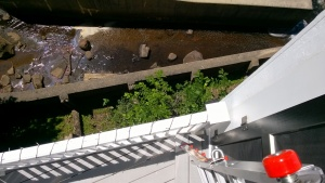 looking down from my ladder on the deck - about a 30 foot drop