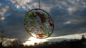 """decorative """"christmas glass"""" stained glass circle"""