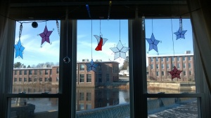 the snowflake stars in the living room window