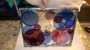 my 2 newest stained glass circle frames layered