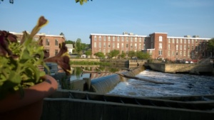 view of the ipswich river and dam from the backyard adirondack chair