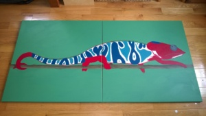 the chameleon mural after adding red, blue, & turquoise