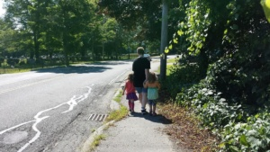 walking with abbie's daughters claire & meara