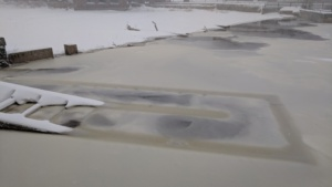 the water rose high enough to cover the fish ladder during a january storm