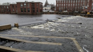 rapids on the river during a very high storm surge