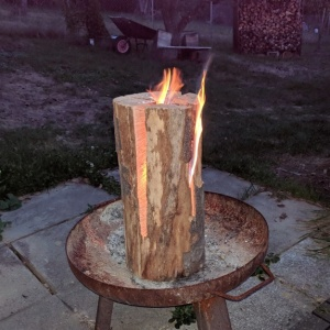 nordic torch my german brother-in-law created using a chainsaw and parafin