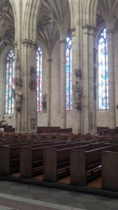 stained glass windows inside the münster, ulm, germany