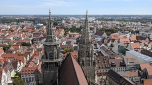 view of ulm, germany from 2/3 of the way up the münster