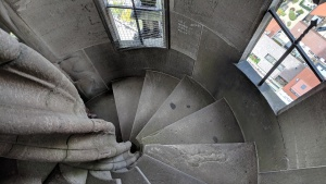 heading back down the 560 stairs in the münster