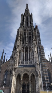 looking up at the münster cathedral, ulm, germany