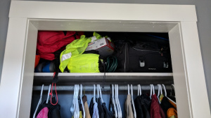 our closet shelf in the front hall has been a jumbled mess