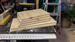 "i cut 6 pieces of 3/4"" plywood to make new closet shelves"