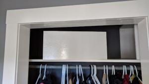 the new shelves were made narrow enough to slide into the closet