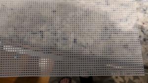 plastic cross stitch mesh makes a great fish tank divider