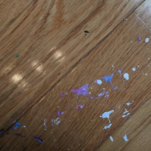 i tried to scrub the paint off the girl cave floor. it was sort of successful.