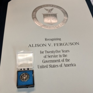 my award for 25 years with NOAA Fisheries Service