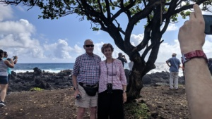 pop and auntie at a beach on the road to hana tour, maui