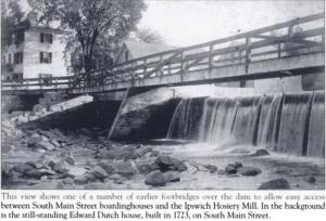 one of the original riverwalk bridges and dam ipswich