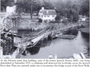 philemon dean house ipswich and original riverwalk bridge 1973