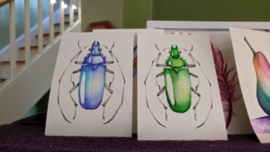 green & blue bugs chromatek tutorial on youtube - watercolor pens