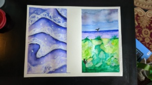 my attempt to paint waves with watercolor pens