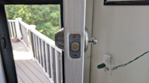 i patched up & painted the deadbolt strike plate in the door