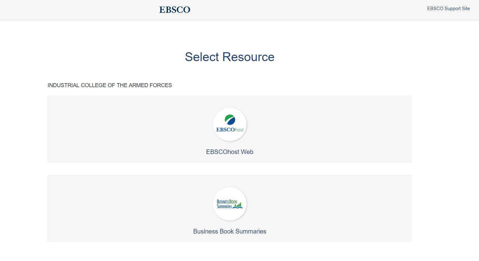EBSCO log in screen