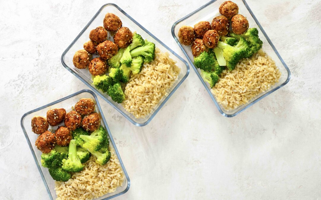 Sesame Turkey Meatballs with Steamed Broccoli and Rice