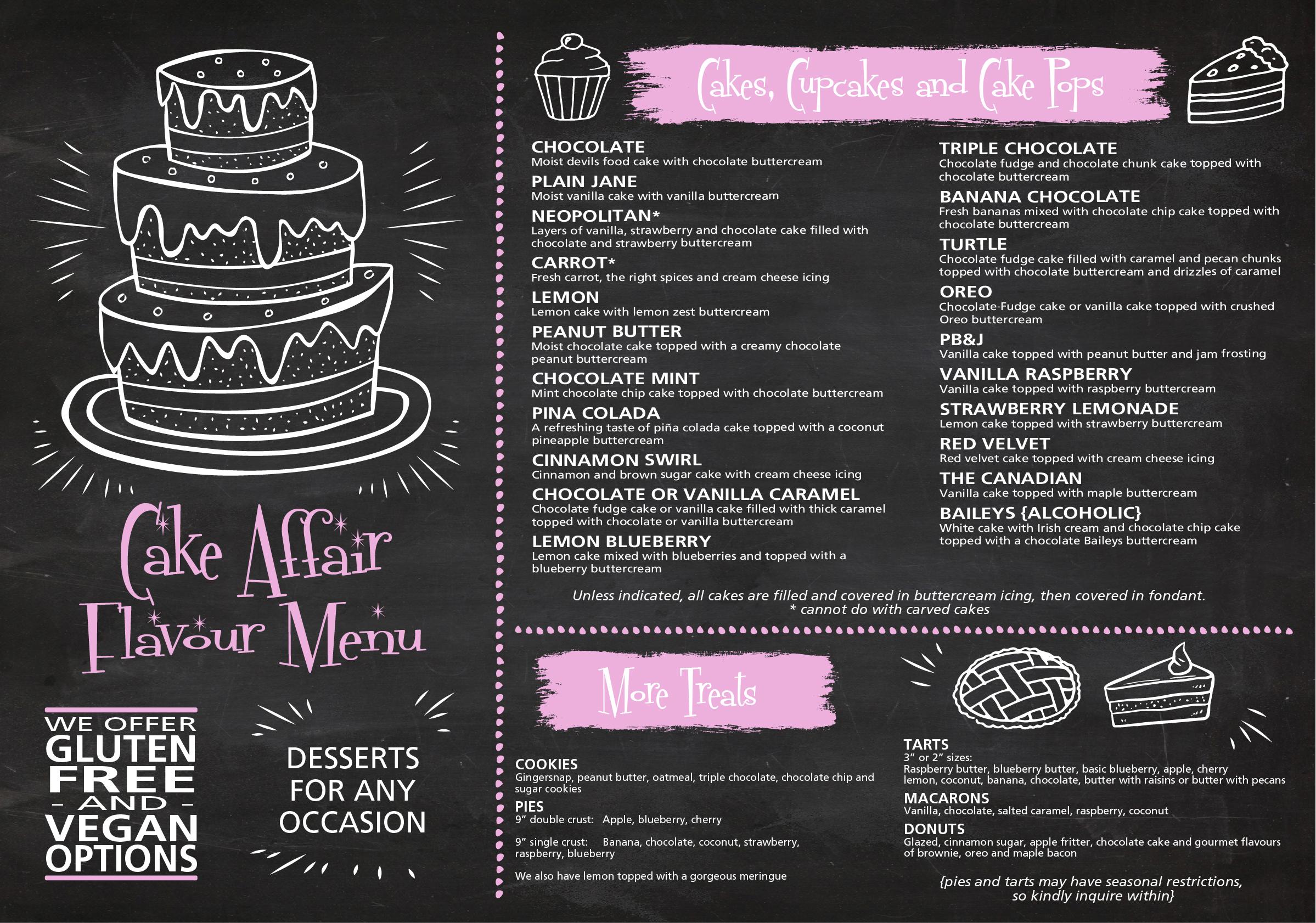 cake affair flavour menu
