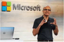 "Image of Microsoft SEO Satya Nadella discussing ""Microsoft Uses Stories To Transform Culture for the Doug Keeley blog"