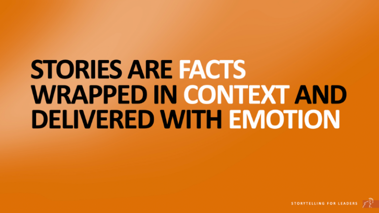 Quote about stories are facts wrapped in context and delivered with emotion
